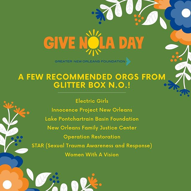 #GiveNolaDay is a 24-hour event hosted by @gnofoundation to inspire folx to give generously to non-profits making our city stronger, creating a thriving community for ALL. Now that's something we can get behind!  These are just a few of the amazing orgs participating who need your support. We choose these to feature because they are all past partners of the shop, orgs that we trust doing work towards social justice and an intersectional, equitable future. There are many more deserving orgs involved.  Who will you be supporting? Who should we check out for the inspiring and important work they're doing in the city? Comment below!  Please visit their pages or the @gnofoundation page for more info and to donate.  @electricgirlsed @_ipno_ @l.p.b.f @speakupnofjc @operationrestorationtheor @staradvocates @wwavnola  #nonprofitorganizations #nonprofitsrock #supportyourlocalgirlgang #supportnonprofits #nola #nolanonprofit #putyourmoneywhereyourmouthis