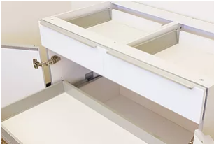 Cabinet with drawers and roll-out tray