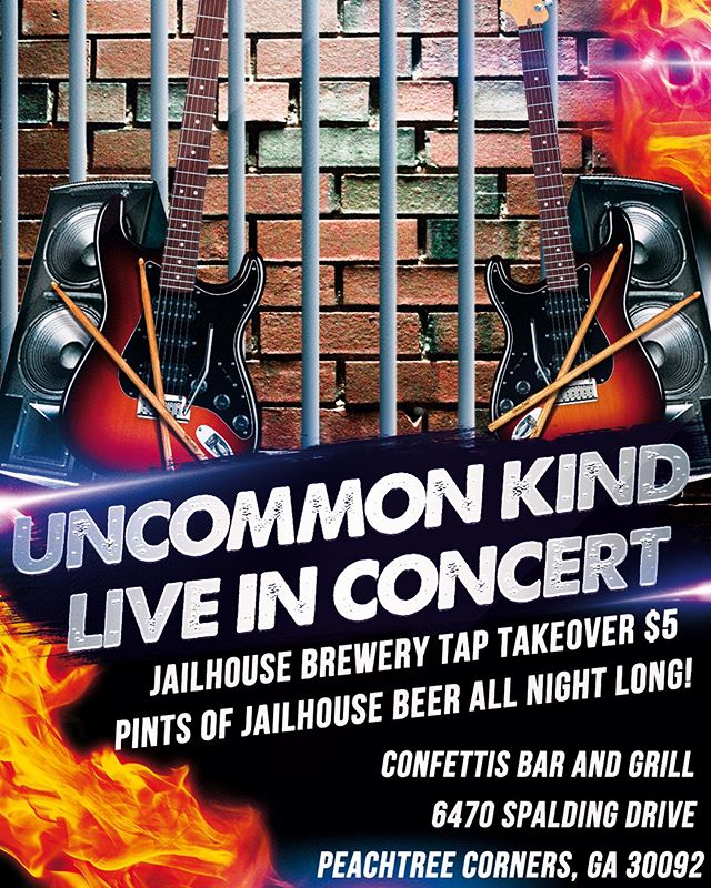 Come out and to @confettisga In Peachtree Corners for $5 @jailhousebrews pints all night long! Concert from Uncommon Kind starts at 9!  #keepcold #drinkfresh #craftbeer #coldchain #modernhops #georgiabeer #gabeer #beer #brandbuilding #darkside #juicestrikesback #dayofthejuice #jailhouse