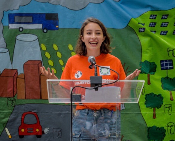 YPPG chair Sylvana Widman speaks at the Zero Hour NYC Youth Climate March