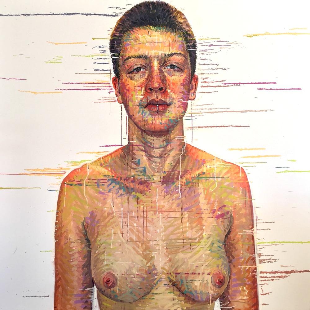 """Jory, Cambridge, MA""  *somewhereX, a gay Mormon portrait project  72"" x 72""   oil on canvas   Matthew Cherry"