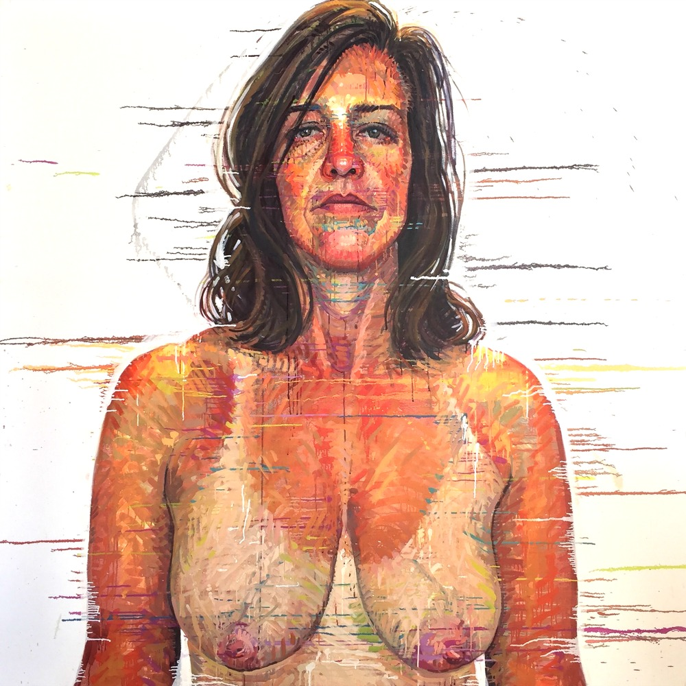 """""""Amy, Providence, RI"""" *somewhereX a gay Mormon portrait project because we exist! 72"""" x 72"""" oil on canvas"""