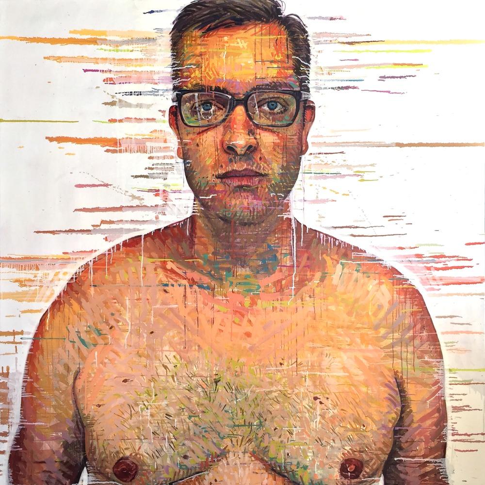 """Brock, Phoenix, AZ"" *somewhereX a gay Mormon portrait project because we exist! 72"" x 72"" oil on canvas"