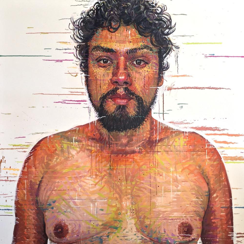 """Dennis, Santiago, CHILE"" *somewhereX a gay Mormon portrait project because we exist! 72"" x 72"" oil on canvas"
