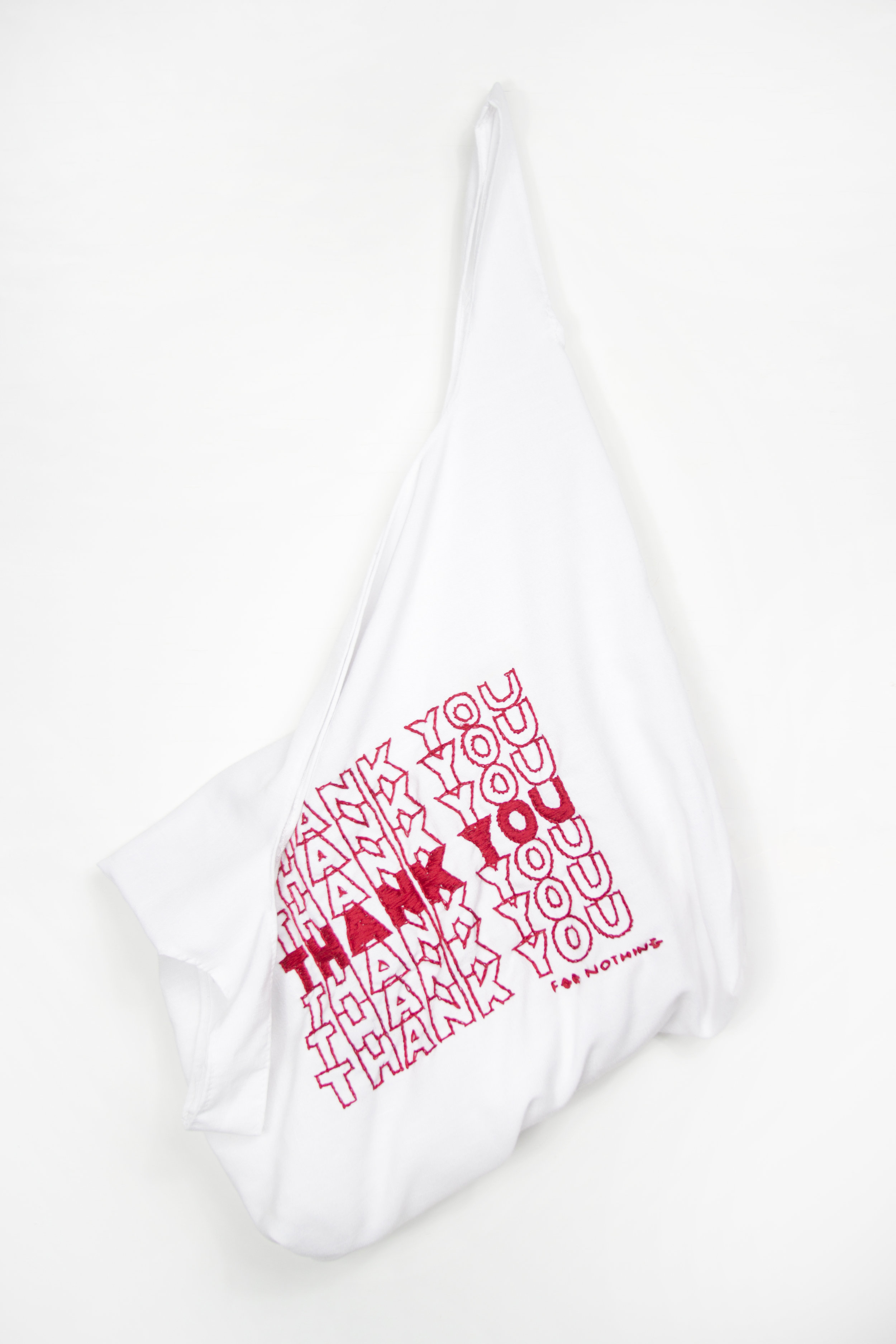 """Thanks for Nothing Erica Mendoza 2016 hand-embroidered linen H 20"""" x W 14"""" x D 6"""""""