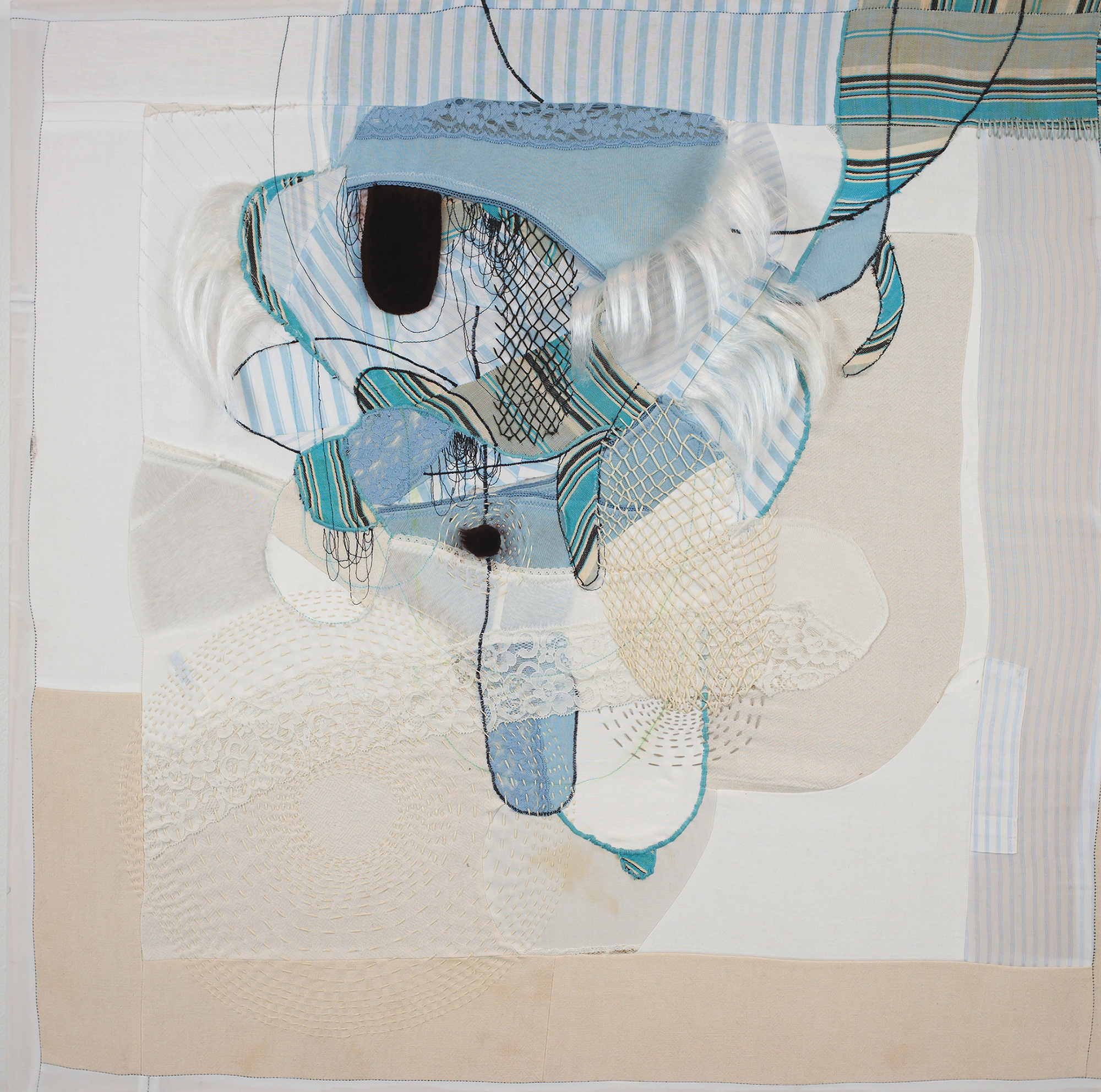 Blue Bunches  Jessica Wohl 2014 Napkins, pillowcases, shirts underwear, faux fur, synthetic hair, embroidery and machine quilting 29 x 29 inches