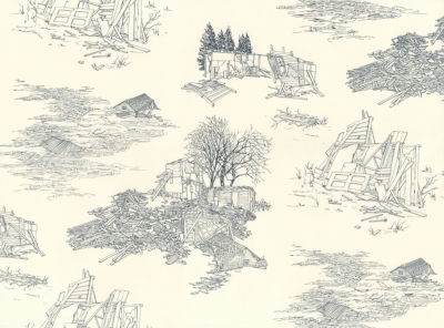 """Cover Image: Lawrence in Blue Toile Yoonmi Nam Lithograph 20"""" x 27"""" 2013"""