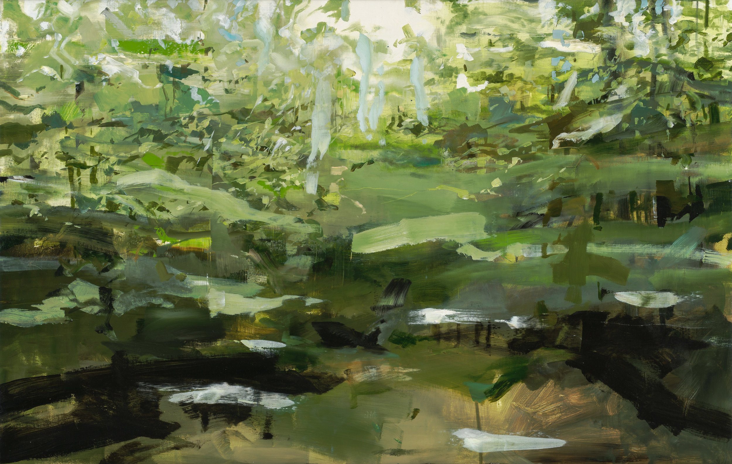 New Hampshire Trees by Alex Kanevsky  36 x 56 inches, Oil on linen