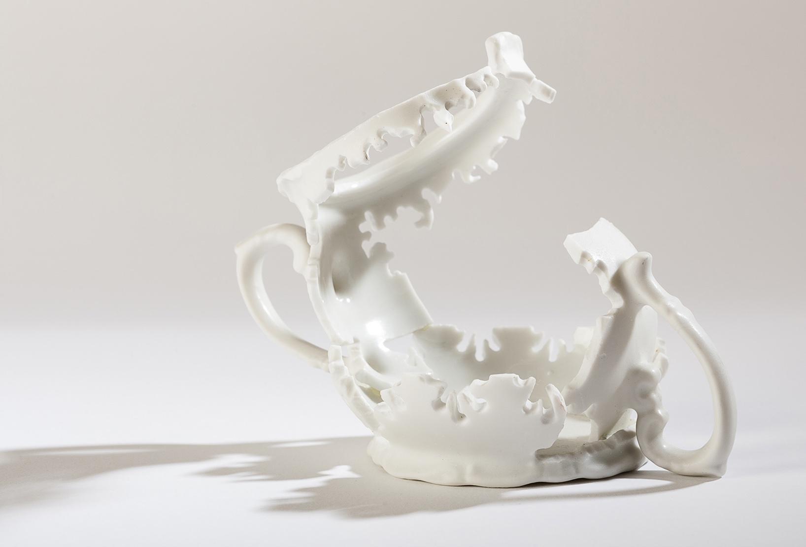 "Sugar Elizabeth Alexander hand cut found porcelain 4"" x 5"" x 3"" 2013 photo by Darren Stahlman"