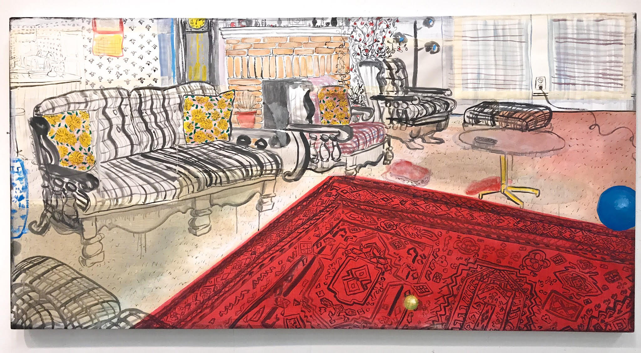 "Kelly Moore Grandma and Ye-Ye's Living Room 2"" x 6"" ink, paper, tape, and acrylic on canvas, 2018"