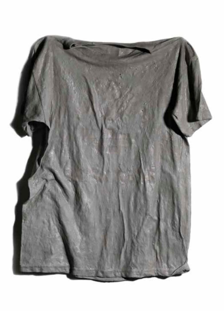Mario Loprete  La T-Shirt Timberand del Noi Che  cement on found cotton fiber T-shirt 2016