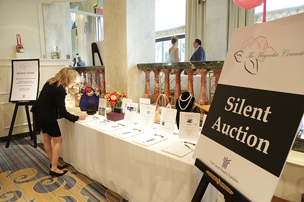 Setting up the Luncheon's Silent Auction