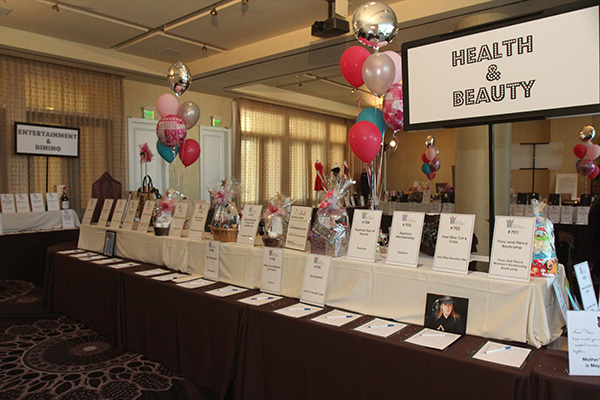 A small portion of the evening's silent auction