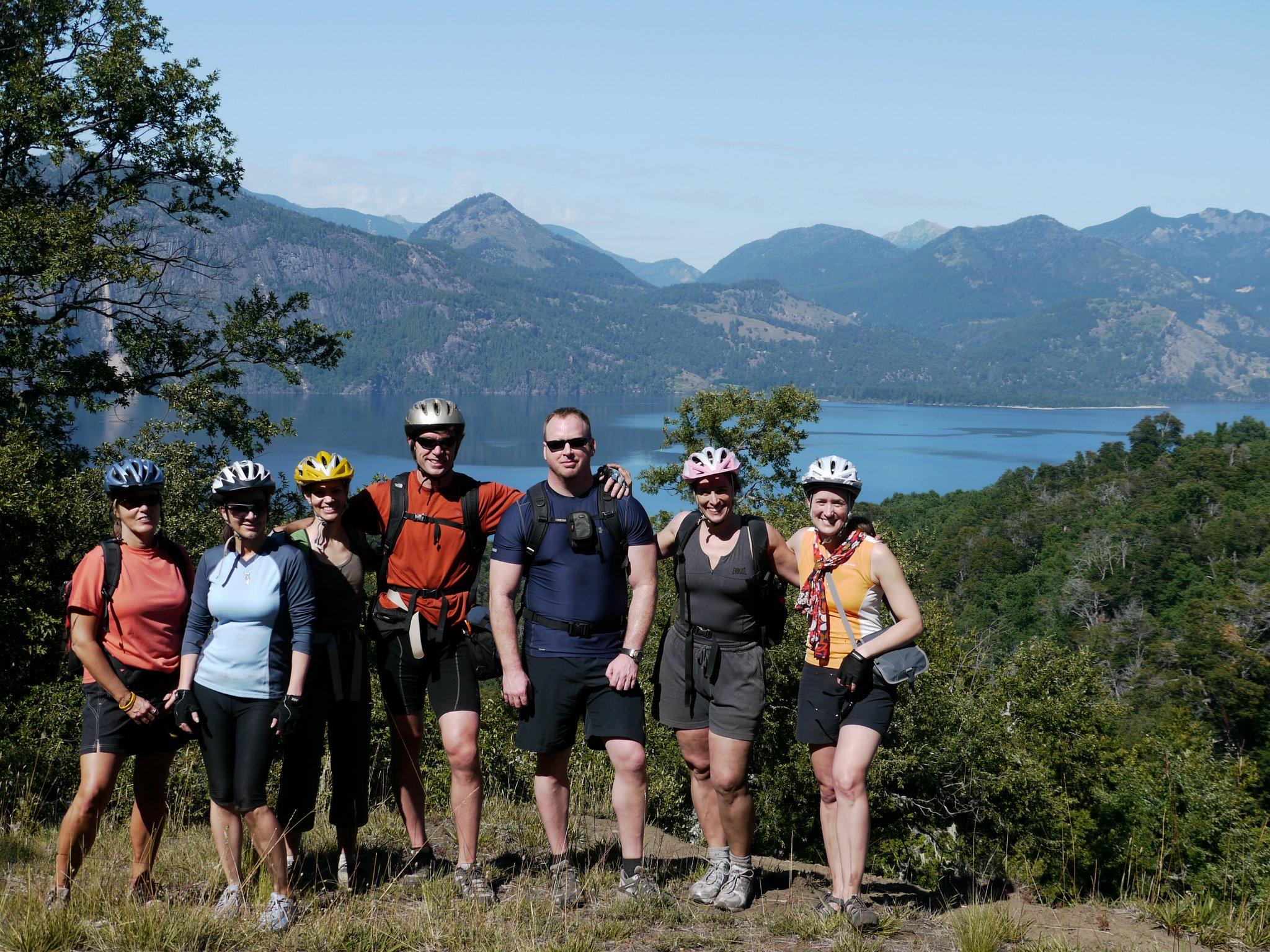 Taking a break from biking in Patagonia