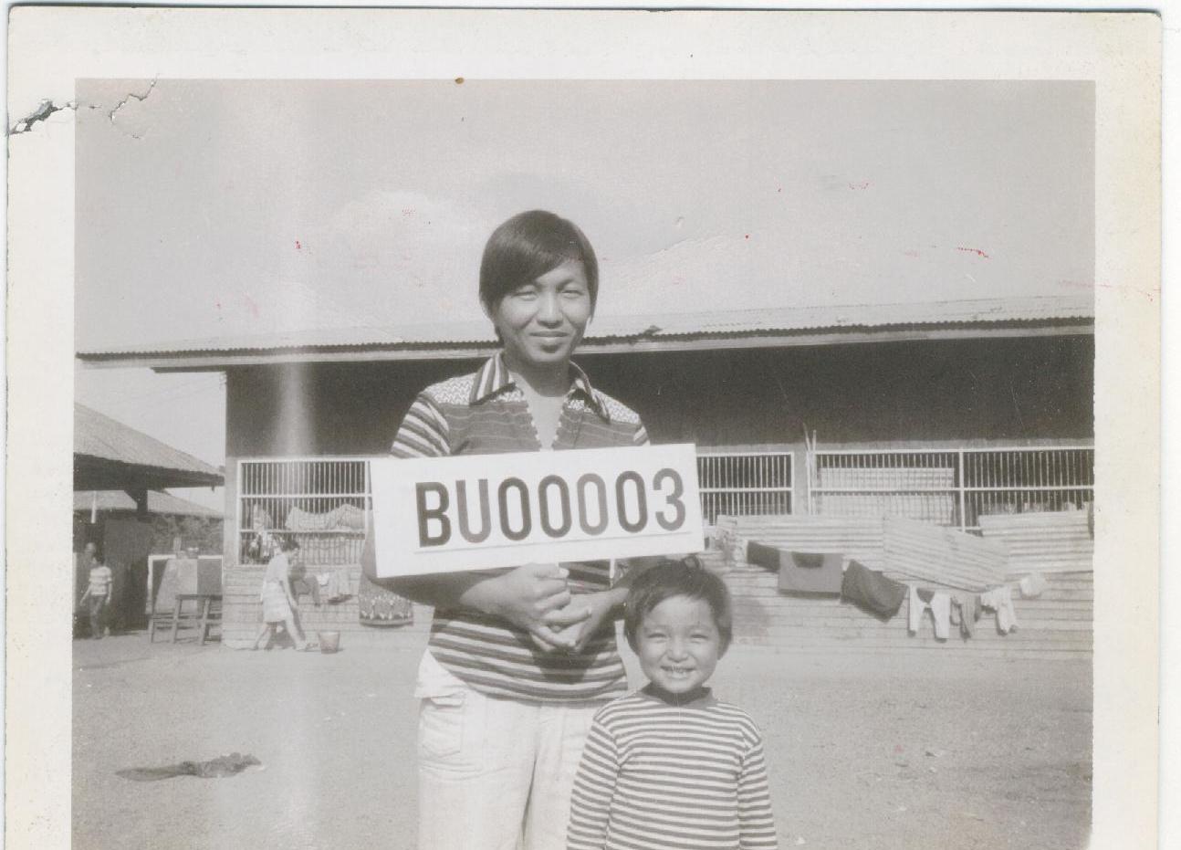 Bunseng with his nephew in Buriram Refugee Camp (1980).