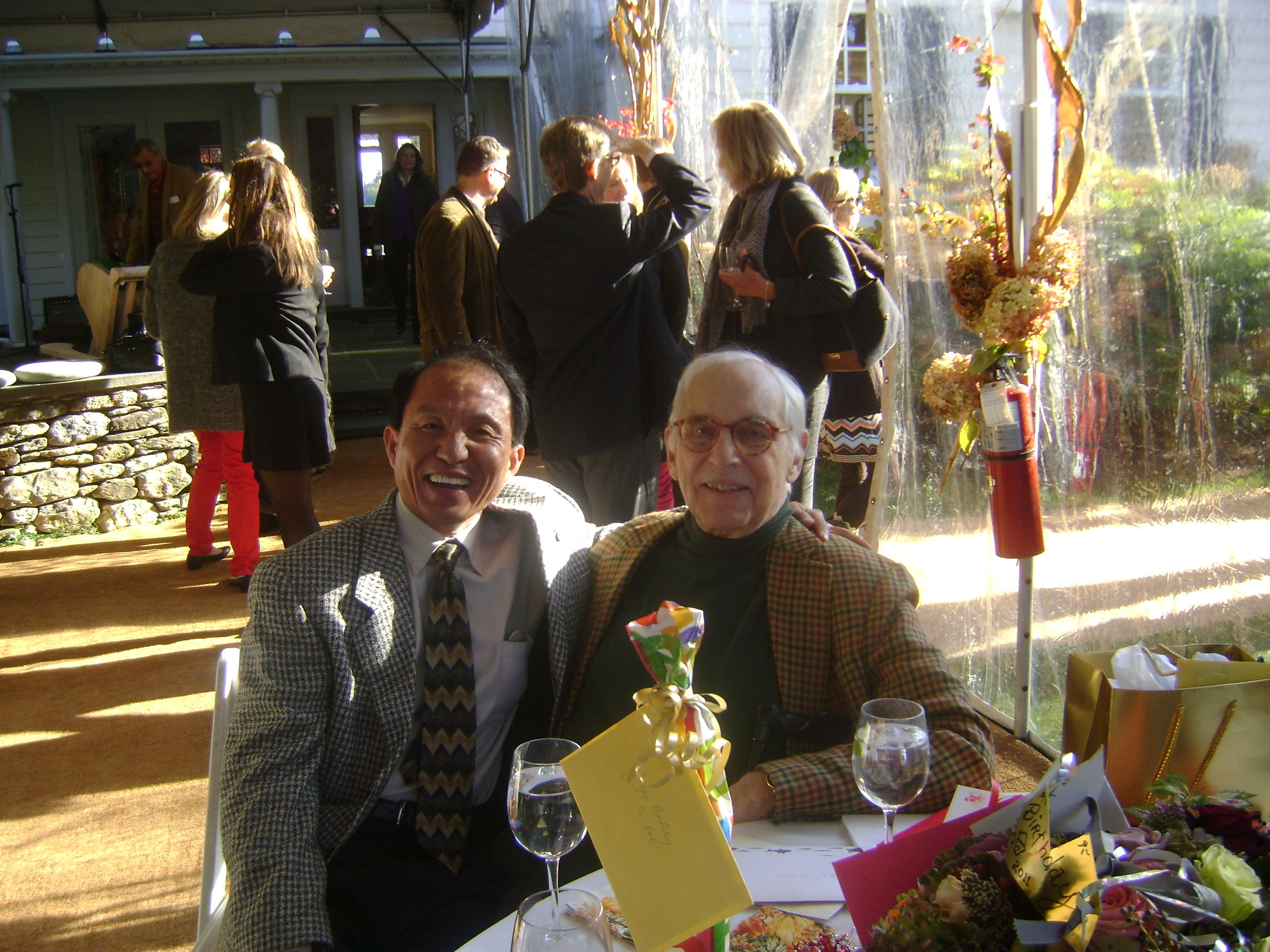 Bunseng (left) and Robert P. DeVecchi (right) at DeVecchi's Birthday party in 2011.