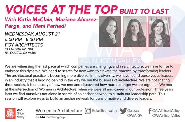 Let's elevate the practice of architecture; transform leadership; build an anchor network; lift each other up. Hear from industry leaders at top Katia McClain, @malvarezparga & @mani2farhadi; how they met thru @wia_sv; discovered strength together. Join in Call to Action w @leahalissa. Open to all. https://aiasiliconvalley.org/events/EventDetails.aspx?id=1263111  @aiasiliconvalley @aia_sanmateo @aiasf @aiaeastbay @aianational @aiacalif  #architecture #design #calltoaction #designingwomen #inclusivity #intersectionality #equity #equity4all #diversity #fluidity #together #network #leadership