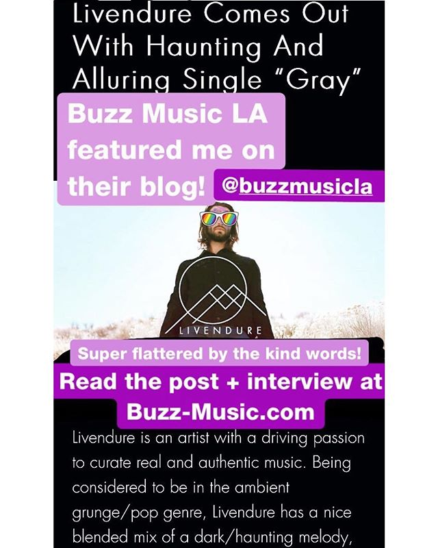 "I was featured on a music blog based in LA! They had a lot of kind insights in their post, and I also did a short interview with them! If you're interested in reading that go to Buzz-Music.com then ""latest releases"". Thanks again @buzzmusicla  Also if you all haven't heard, my album is out everywhere now. Go listen to my song ""Who Cares"", I'll be releasing a music video for that one real soon! LINK IN BIO!  #indie #indiemusic #independentartist #musicblog #electronicmusic #electronicrock #postrock #grunge #ambient #musicproduction #diymusic #indiepop #grungepop #livendure #gray"