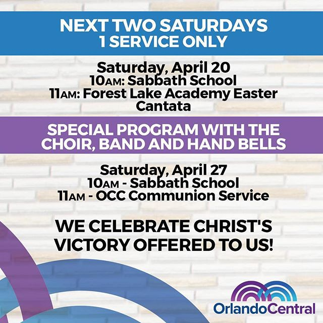We are having 1 Service for the next two Saturdays with special programs. Please invite your friends.