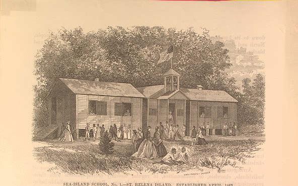 Freedmen School in the Sea Islands, South Carolina Est 1862. Image Courtesy of the Library of Congress