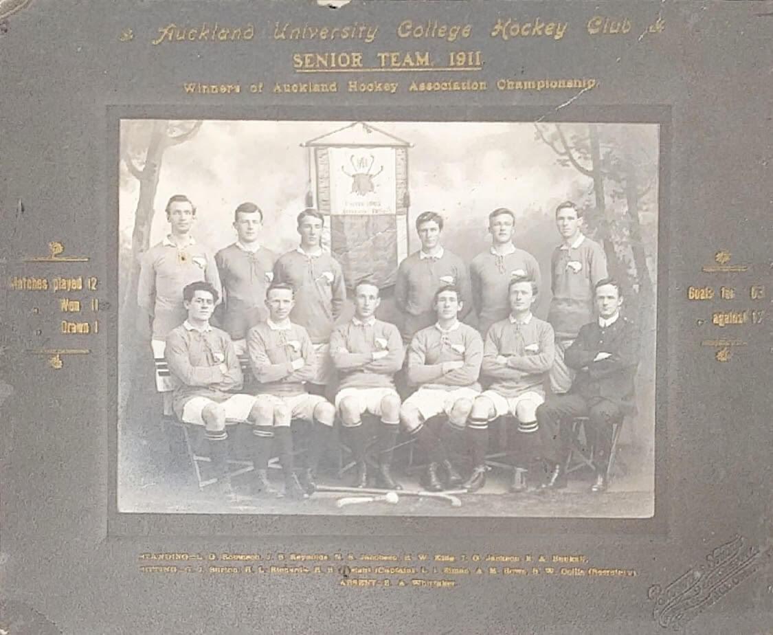 AUHC 1911 Senior Team Standing -L. G. Robinson, J. B. Reynolds, N. R. Jacobsen, H. W. King, T. G. Jackson, H. A. Bunkall Sitting - C. J. Burton, H. L. Richards, H. B. Speight (C), L. I. Ziman, A. M. Rowe, S. W. Collis (Secretary) Absent - E. A. Whittaker