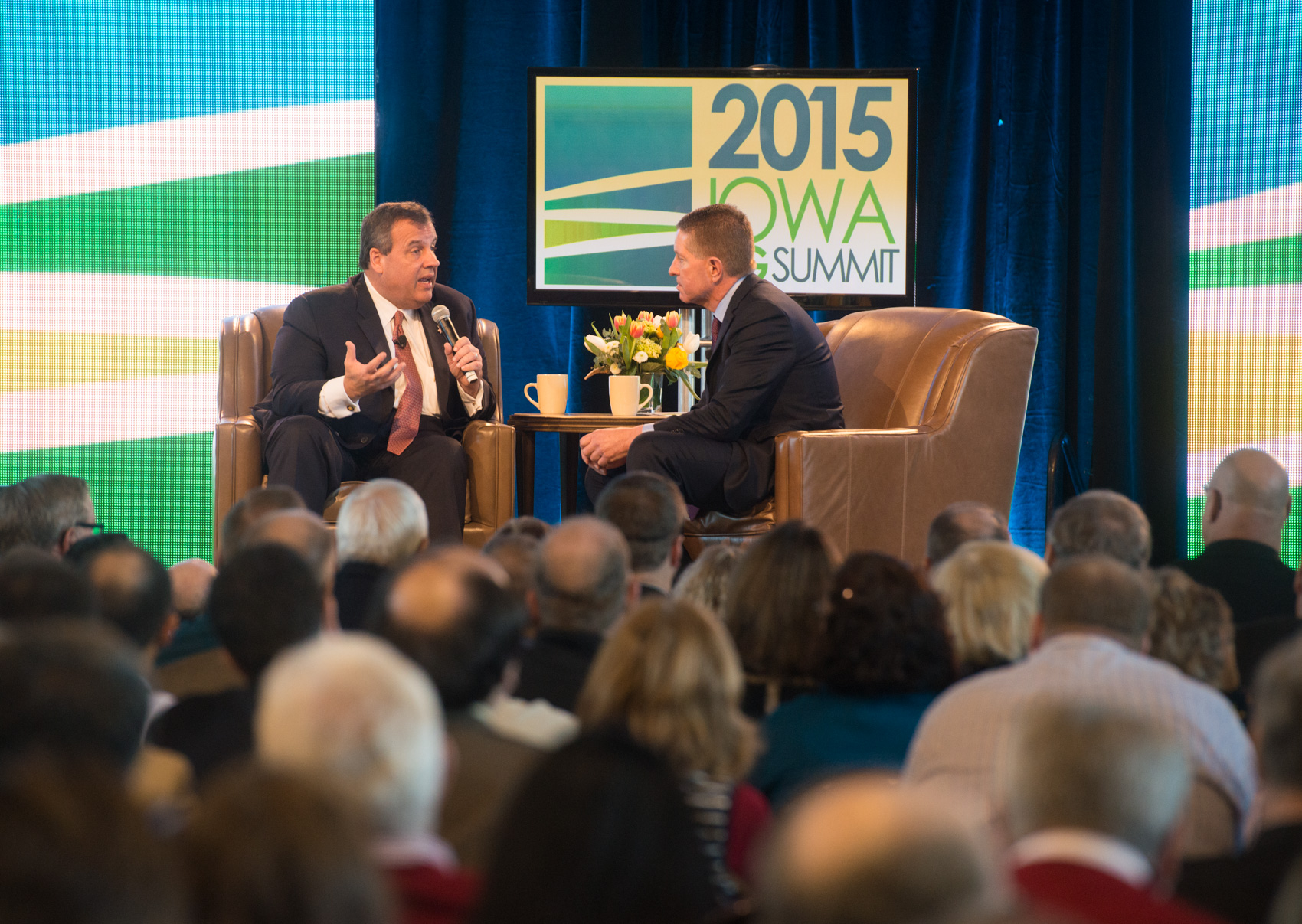 New Jersey Governor Chris Christie answers a question during the 2015 Iowa Ag Summit. (Photo: Joseph L. Murphy)