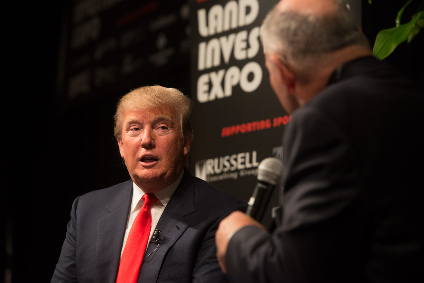 Donald Trump is interviewed by Ken Root during his appearance at the Land Investment Expo in West Des Moines. (Photo: Joseph L. Murphy)