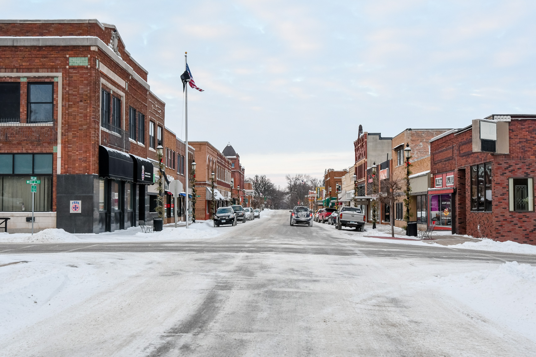Main Street in Forest City at the end of 2017. Many in the small town situated close to the Minnesota border are uneasy about the city's future. (Photo: Joseph L. Murphy)