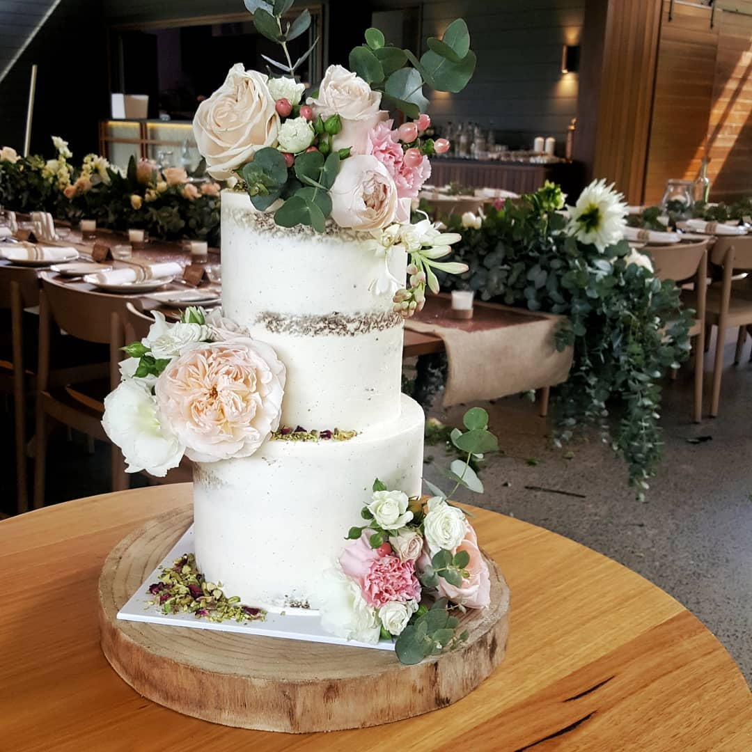 Two tiered cakes from $300 - Two sizes available feeding between 45 - 80 guests