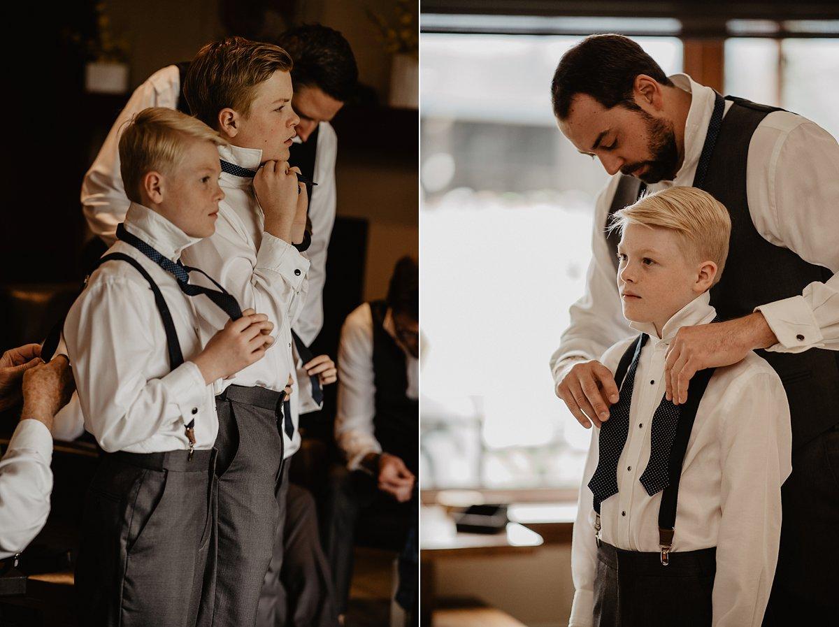 Groomsmen getting ready for Vail, Colorado wedding.