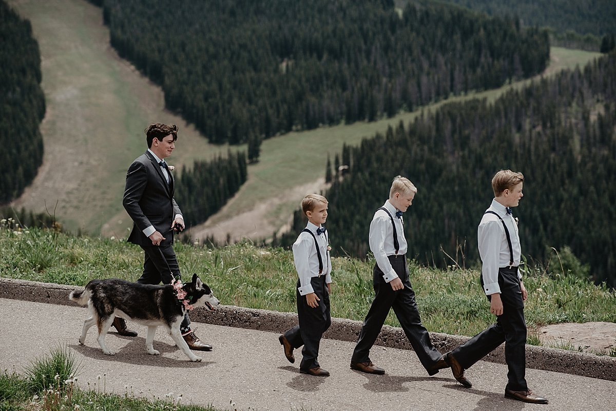 Ringbears on their way to the altar at The Vail Wedding Deck in Vail, Colorado by Lisa Fitts Photography