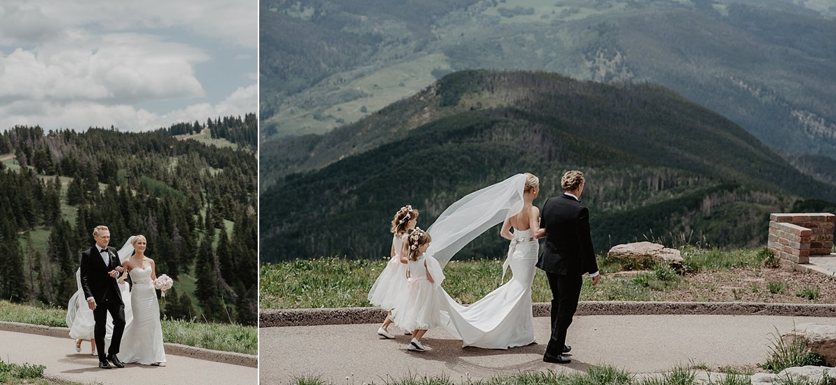Father and daughter on their way to the altar at The Vail Wedding Deck in Vail, Colorado