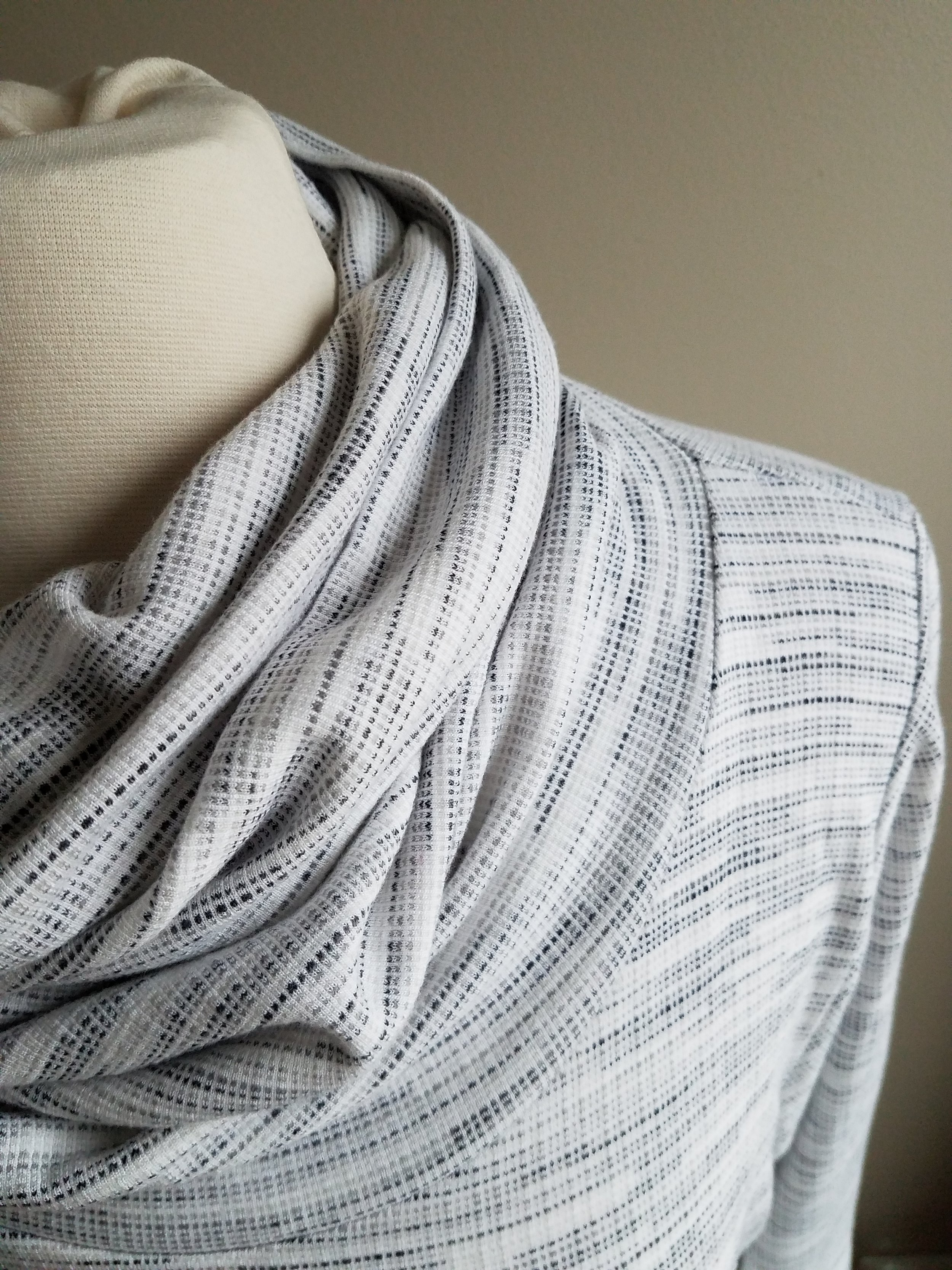 I had this fabric on hand before we started and it became a cozy Halifax with exaggerated cowl/funnel.