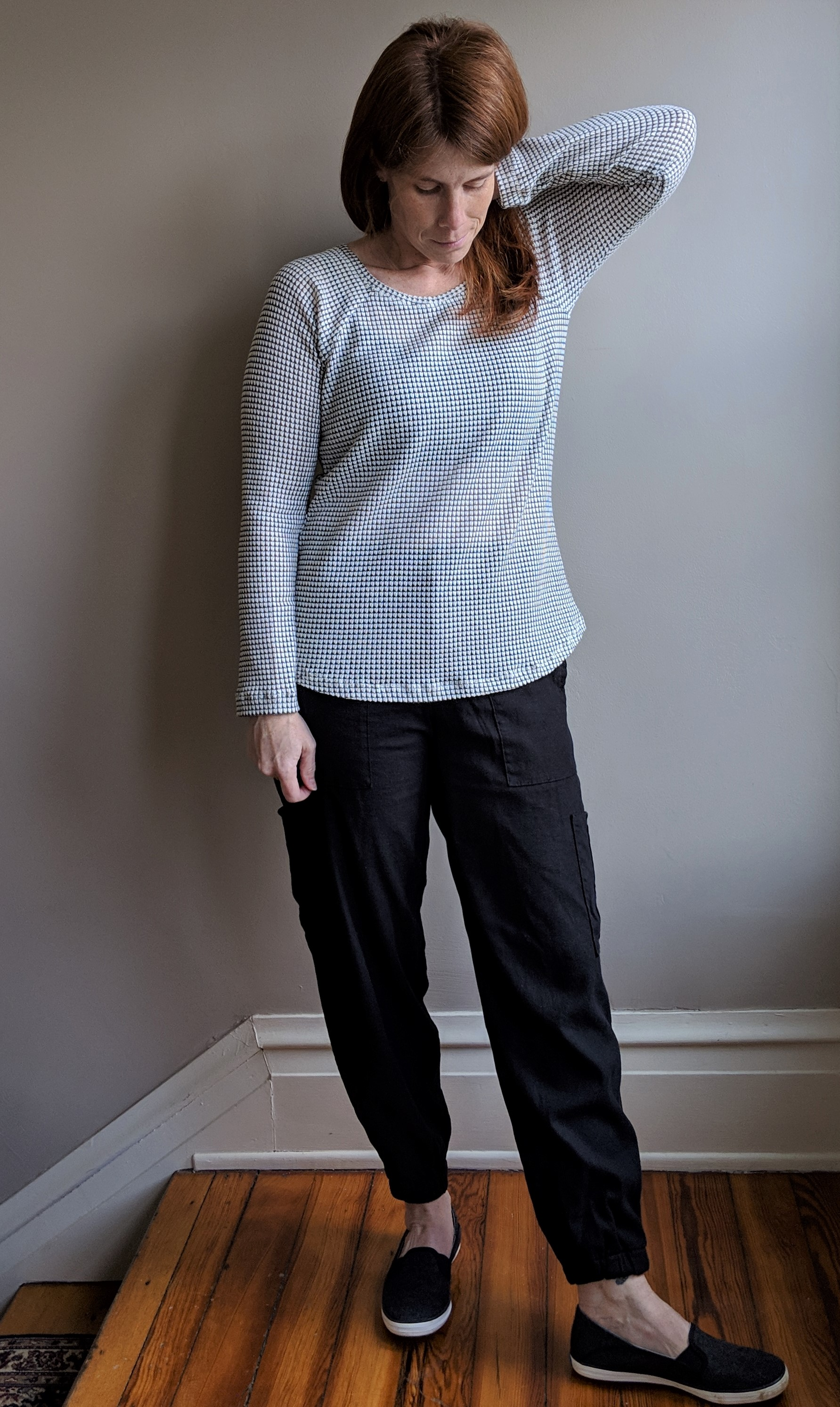 modeled with a sweater knit Lane raglan