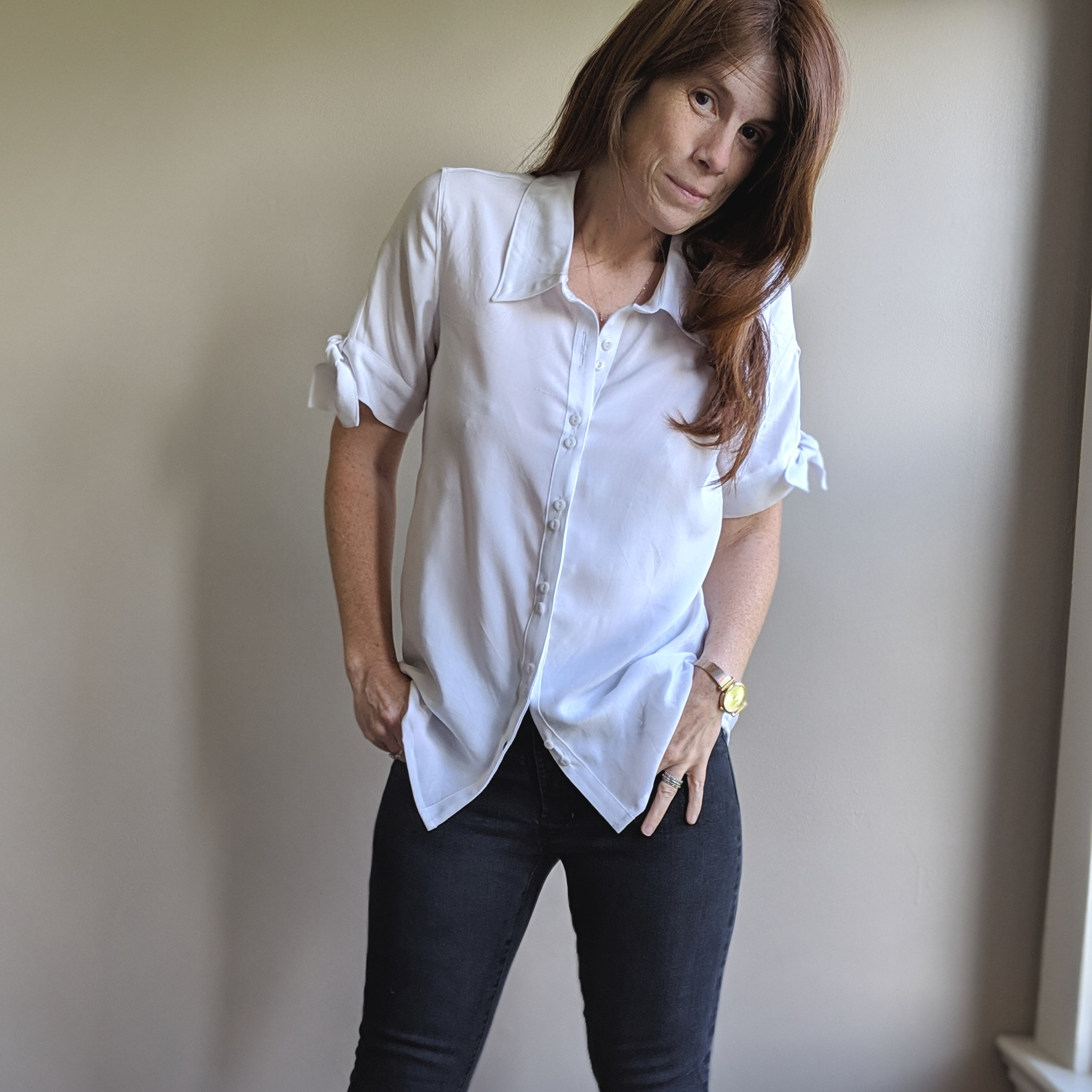 Cheyenne  in white rayon challis. Black  Ginger jeans .
