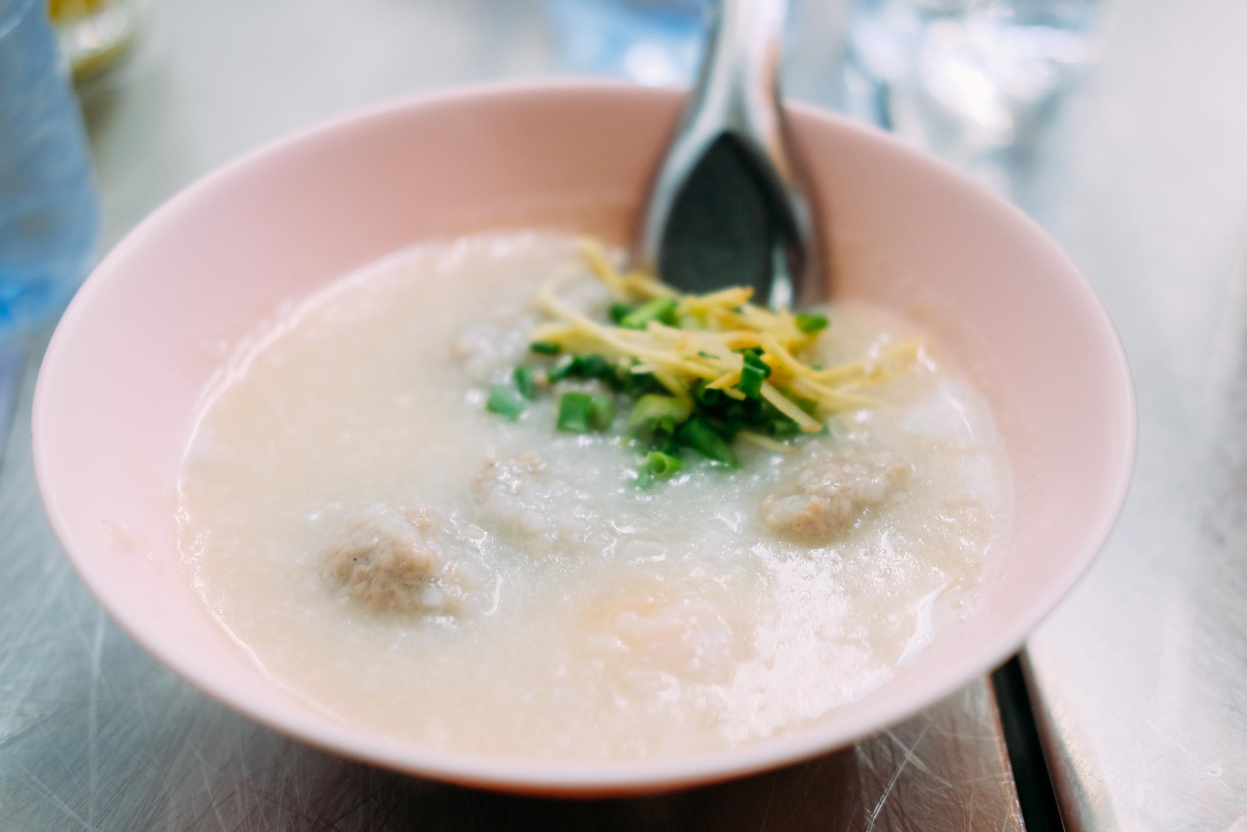 Porridge with pork balls. Yummy!