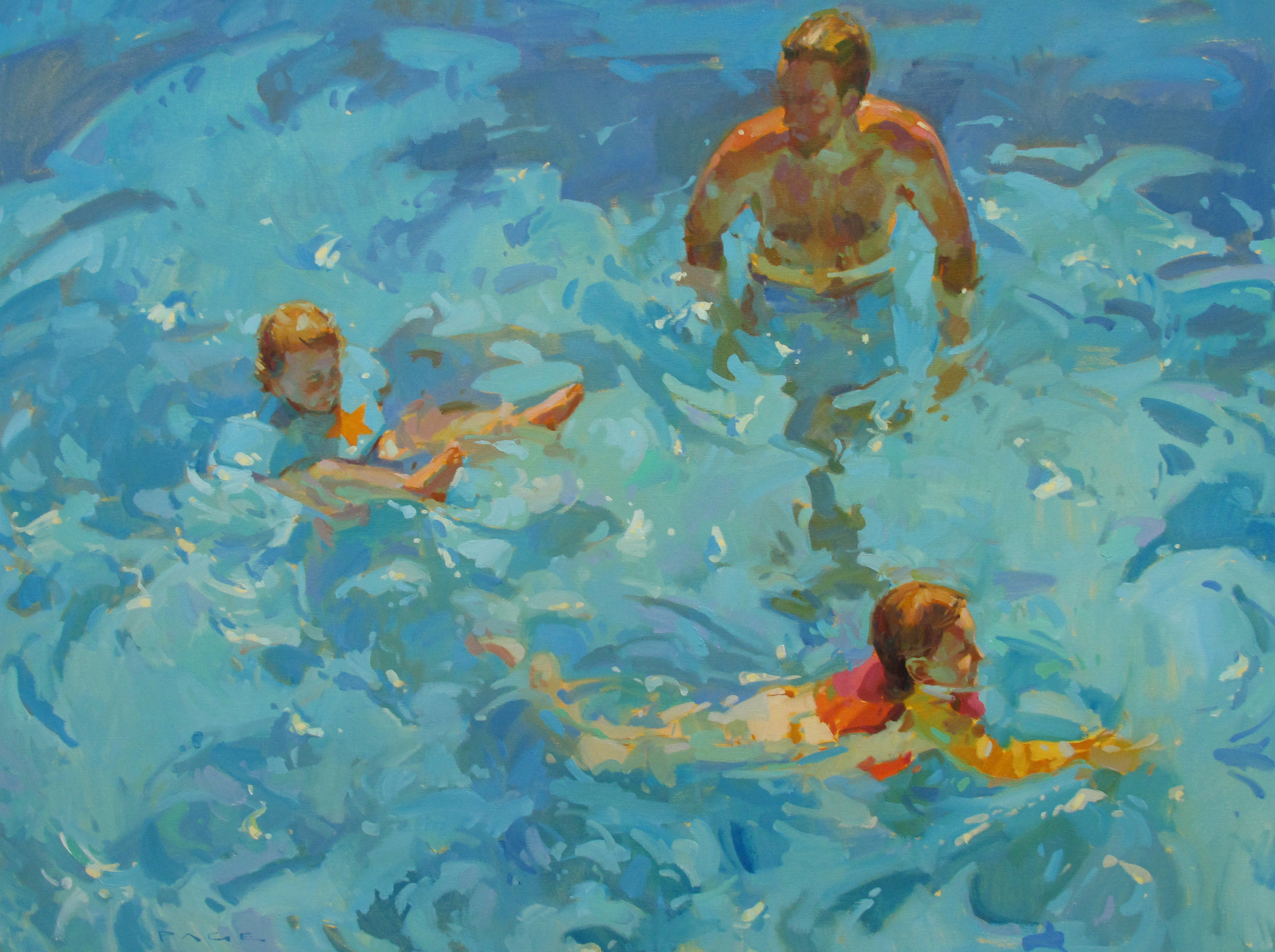 """Water Play  36x48"""" oil on cavnas"""