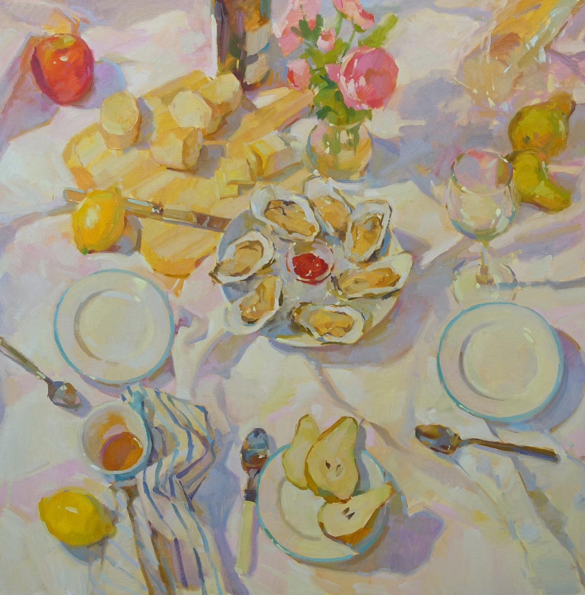 "Oysters and Appetizers  36x36"" oil on canvas"