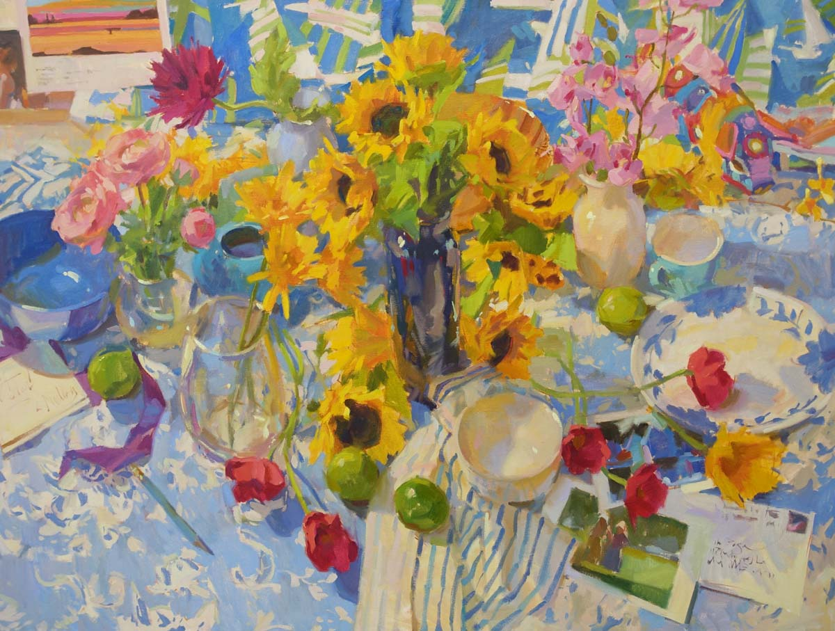 "Tablescape  36x48"" oil on canvas"