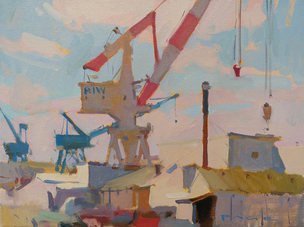 "BIW Cranes   16x12"" oil on canvas"