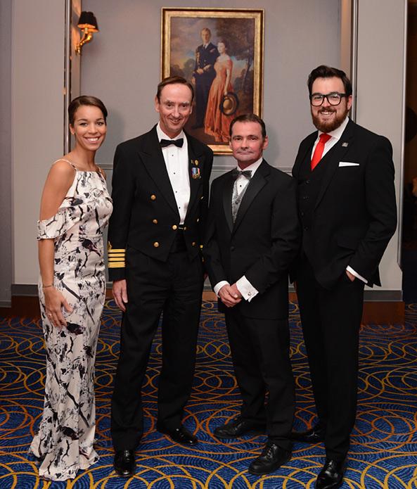 Captain's cocktail party. Taja McIntosh, Captain Christopher Wells, Tony Forrest, Drew Pyper.