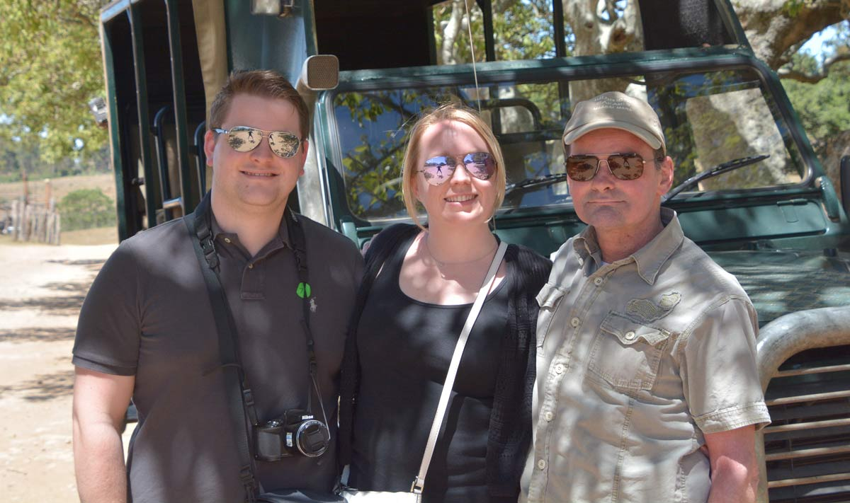 With Sam and Gemma Cox in Schotia Game Reserve where we saw three lions, one of which would become my demonstration painting.