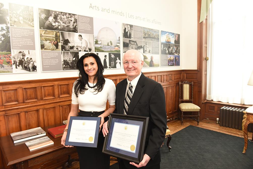 Oro-Medonte Mayor Harry Hughes and Samah Othman received the award on behalf of the township
