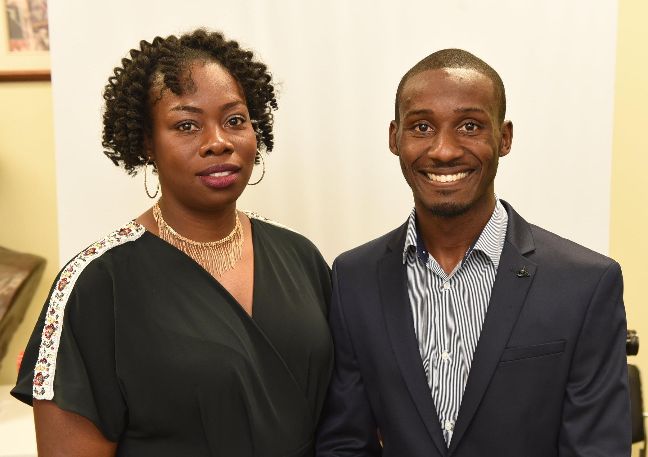 Jamaican international students Tamara Williams and Alvin Henderson