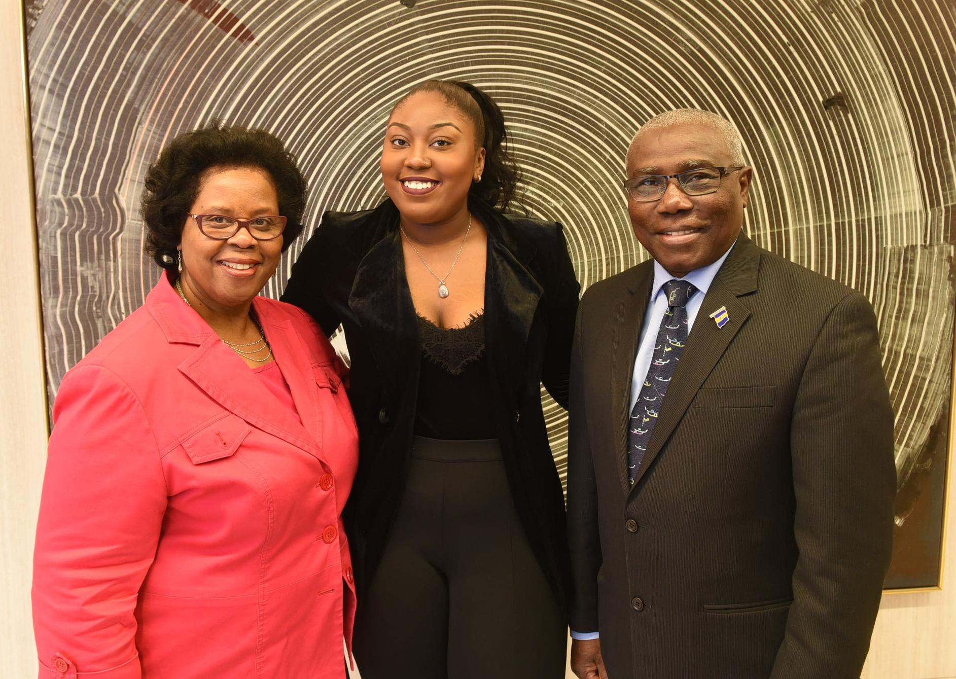 Scholarship recipient Shaquel Sealy with Barbados consul general Haynesley Benn and scholarship program chair Penny Walcott