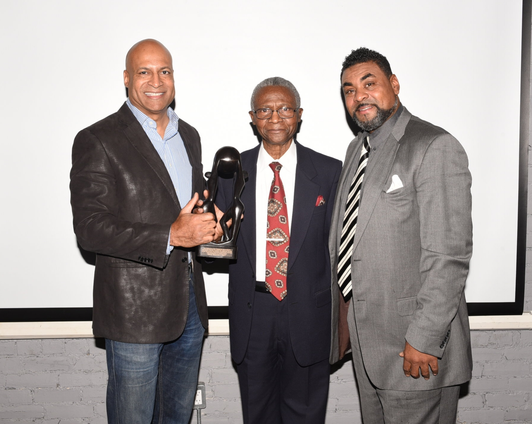 Warren Salmon (l) & Dewitt Lee (r) presented the Jackie Robinson Fortitude Award to Dr. Ronald Blake