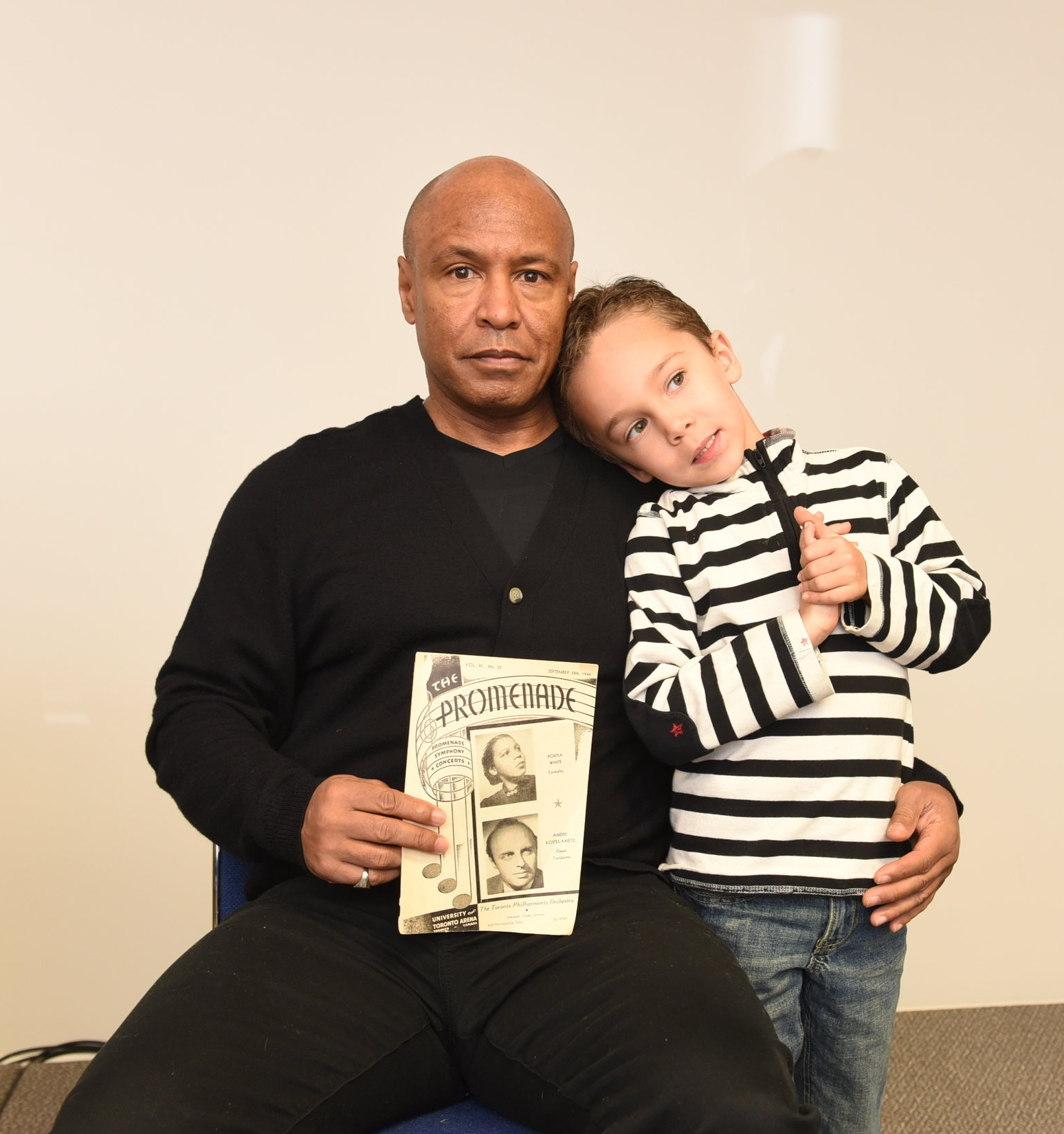 Kevin Gray, the grandson of Portia White, and his five-year-old son Shawn