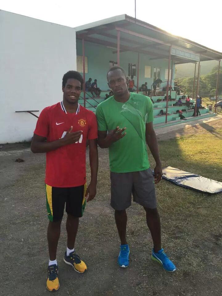 Yona Knight-Wisdom (l) and Usain Bolt