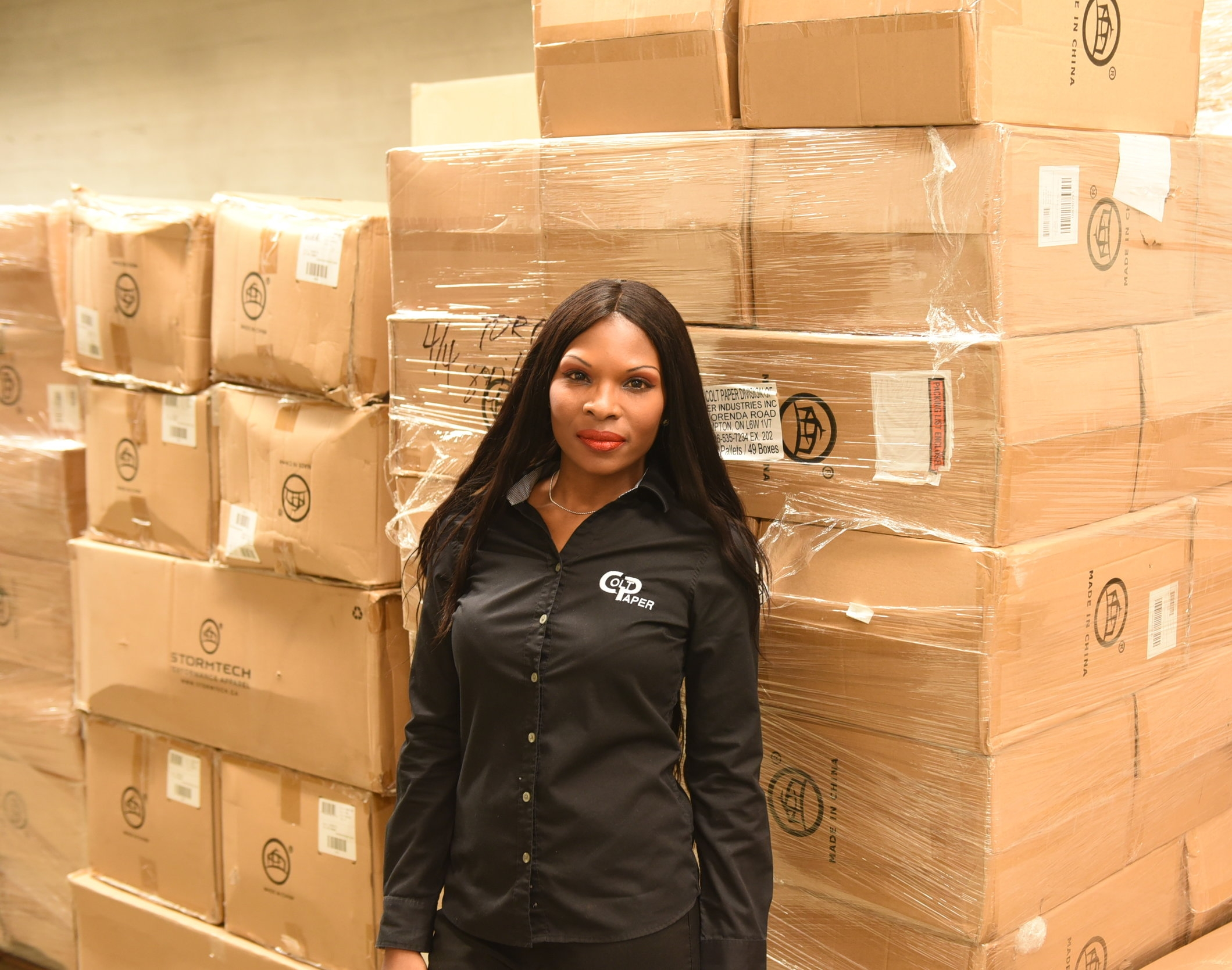 Charlyn Asher in her warehouse