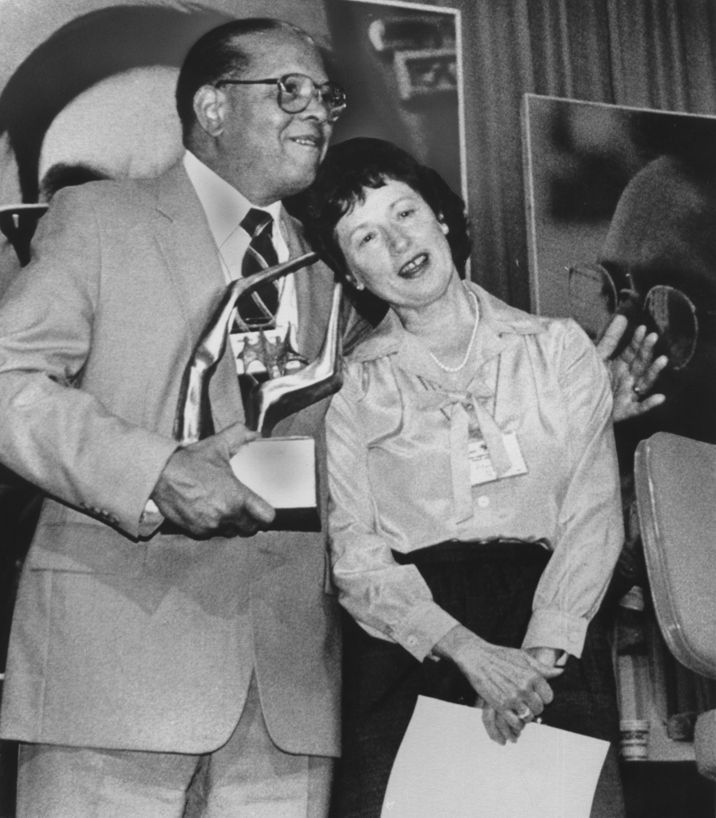 Donna and Dan Hill receiving a joint award from the Canadian Labour Congress in the late 1970s (Photo courtesy of Lawrence Hill)